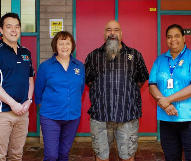 Dr Rob Hand with Danila Dilba Health Service CEO Olga Havnen, General Manager of Darwin Clinics Malcolm Darling and Indigenous Outreach Worker/Recalls Officer Margaret Darling