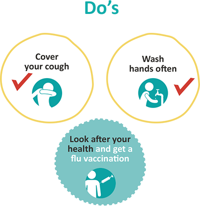 Make sure you cover your coughs, wash your hands often and look after your heal and get a flu vaccination.